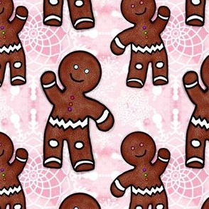 Project 462 | Gingerbread Men and Snowflakes on Pink