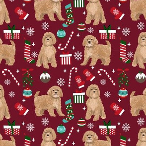 Cavoodle beige christmas holiday presents candy canes winter snowflakes dog fabric ruby