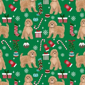 Cavoodle beige christmas holiday presents candy canes winter snowflakes dog fabric green