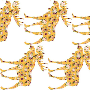 "9"" Floral Mustard Moose 90 Degrees"