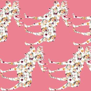 "9"" Floral Moose on Pink 90 Degrees"