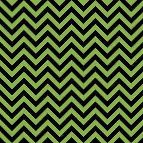 Three Inch Greenery Green and Black Chevron Stripes