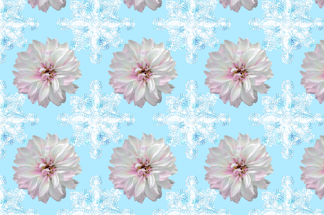 Rustic_Dahlia_Doily_white_skyblue fabric by helenpdesigns on Spoonflower - custom fabric