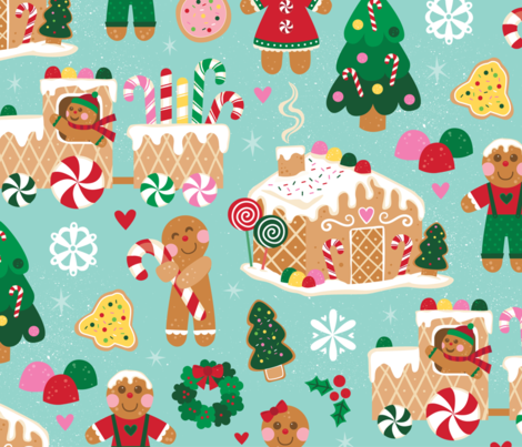 Gingerbread Joy fabric by designs_by_lisa_k on Spoonflower - custom fabric