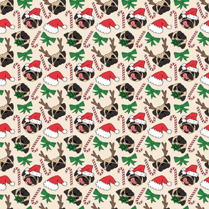 Christmas Pug Dog Pattern
