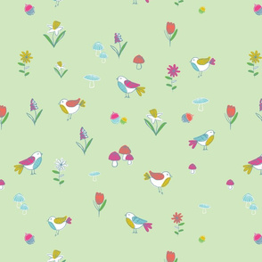 Woodland Birds-Green