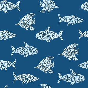 Water Fish and Whales in Dark Blue