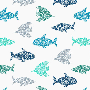 Water Fish and Whales in Blue, Teal and Green