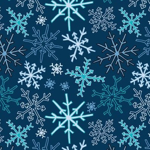 Snowflake Party in Dark Blue
