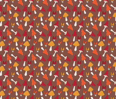Retro Mushroom Pattern on Brown fabric by northern_whimsy on Spoonflower - custom fabric