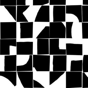 Black and White Geometric Abstract Tiles Small Scale