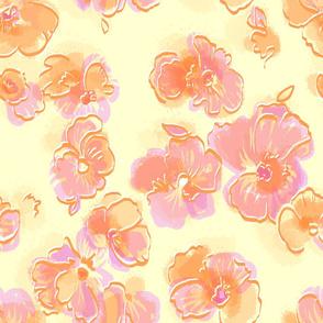 tangerine pansies sheer