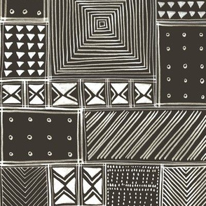 African Brown Tribal Mud Cloth