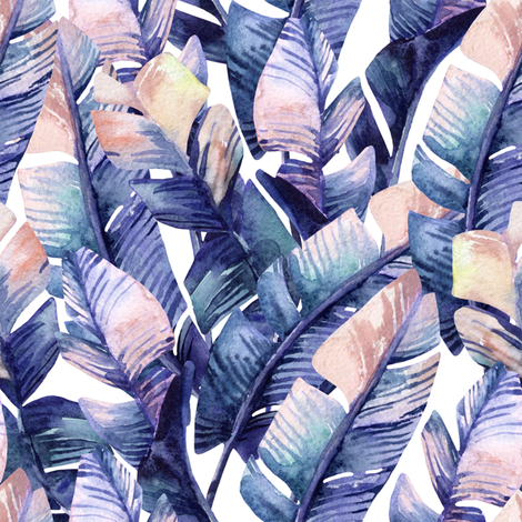 "8"" Tropical Banana Leaves// Purple and Orange fabric by hipkiddesigns on Spoonflower - custom fabric"