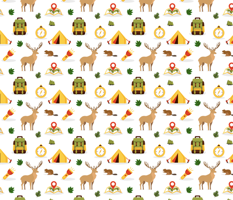 Camping and Hiking in the woods white fabric by littlefancypants on Spoonflower - custom fabric