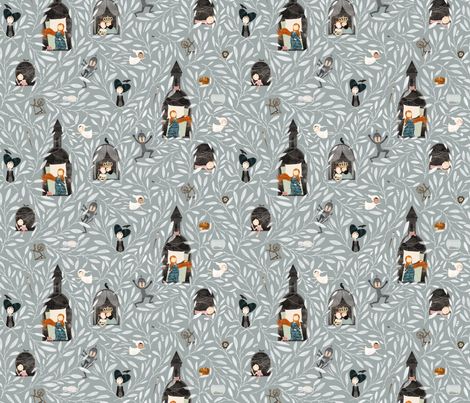Sleeping Beauty teal fabric by katherine_quinn on Spoonflower - custom fabric