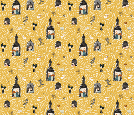 Sleeping beauty mustard fabric by katherine_quinn on Spoonflower - custom fabric