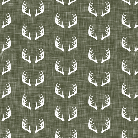 antlers on green linen - C2- wholecloth coordinate fabric by littlearrowdesign on Spoonflower - custom fabric
