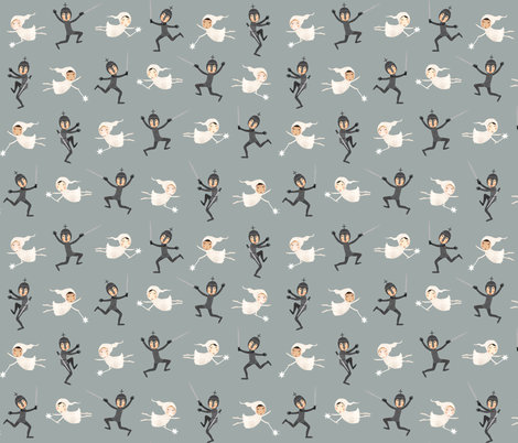 Faries and knights teal fabric by katherine_quinn on Spoonflower - custom fabric