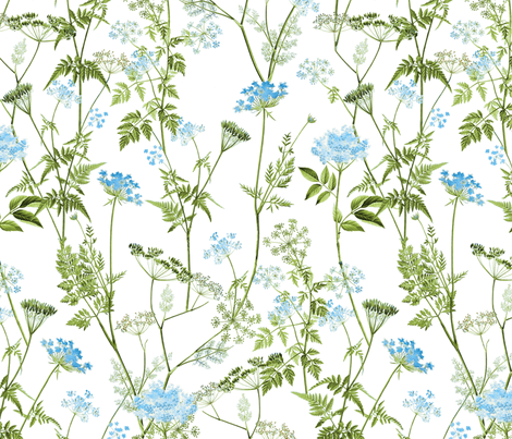 Queen Anne's Lace - Blue fabric by anom-aly on Spoonflower - custom fabric