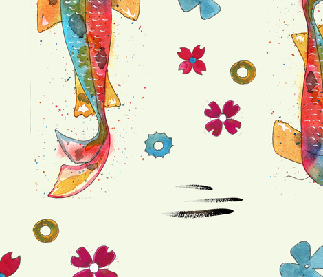 watercolor koi tattoo pattern fabric by jennross76 on Spoonflower - custom fabric