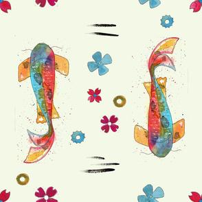 watercolor koi tattoo pattern