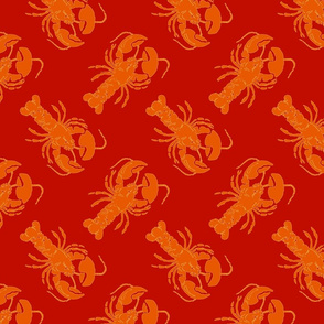 lobster orange on red