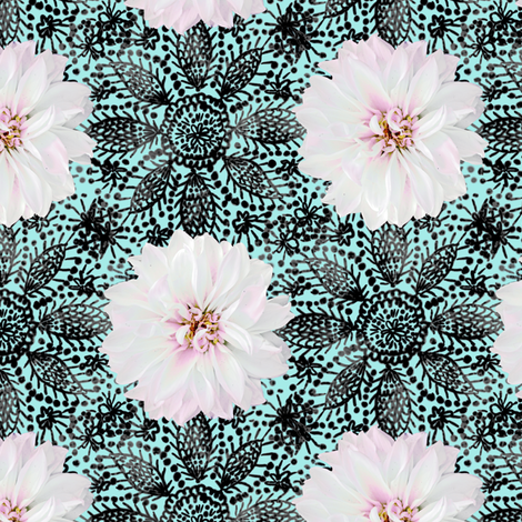 Rustic_white_Dahlia_black_lace_mint fabric by helenpdesigns on Spoonflower - custom fabric