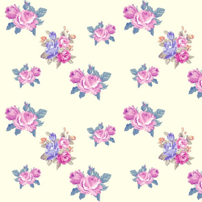 Vintage Floral Roses in Pink and Blue on Cream