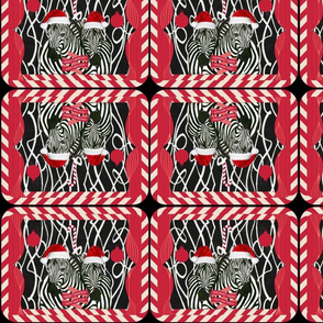 Black and white African Zebras with Santa hats