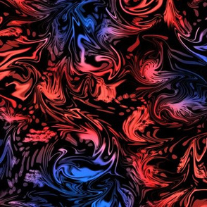 Abstract Marbled Swirls in Red and Blue