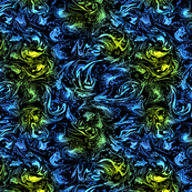 Abstract Marbled Swirls in Blue and Green