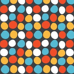 Colorful dots on a black background