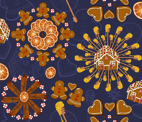 Kaleidoscope Gingerbread fabric by fanny-bonenfant on Spoonflower - custom fabric
