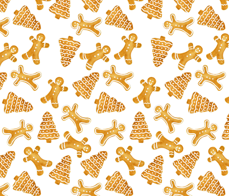 Jolly Gingerbread fabric by janeylane on Spoonflower - custom fabric