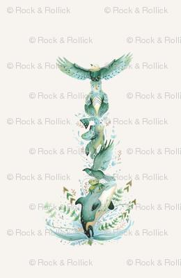 Totem Pole / Folk Art Animals / Placement Print