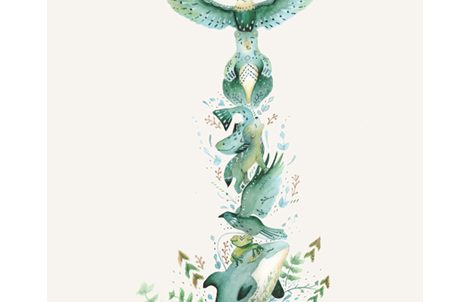 Totem Pole / Folk Art Animals / Placement Print  fabric by rocknrollick on Spoonflower - custom fabric