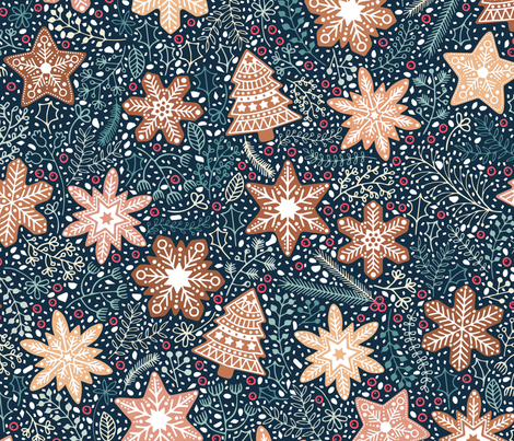 Gingerbread snowflakes / Christmas flowers fabric by matite on Spoonflower - custom fabric