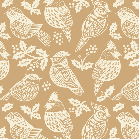 Christmas birds fabric by penguinhouse on Spoonflower - custom fabric