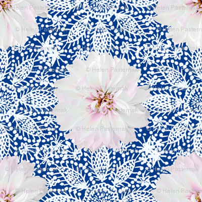 Rustic white Dahlia on white lace (navy)