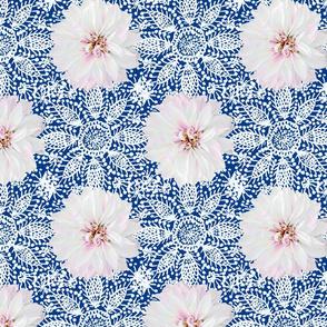 Rustic white Dahlia on white lace (navy)