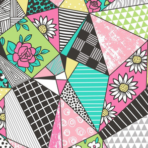 Geometric Patterned Patchwork with Stripes,Dots, Triangles & Flowers in Yellow Green Pink Mint Large Size
