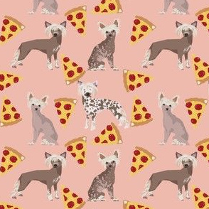 chinese crested (smaller version) dog pizza funny cute pink dog dogs sweet hairless dog fabric