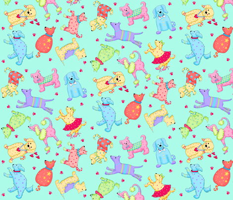 Party Pups Turquoise fabric by phyllisdobbs on Spoonflower - custom fabric