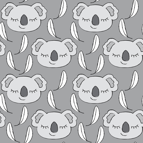 grey koalas on charcoal fabric by lilcubby on Spoonflower - custom fabric