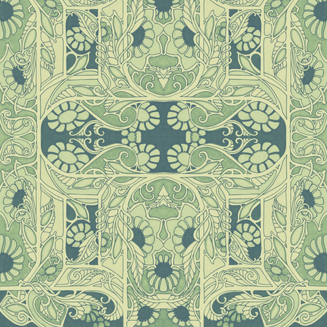 Aunt Philomena's Garden (dusty cream/green) fabric by edsel2084 on Spoonflower - custom fabric