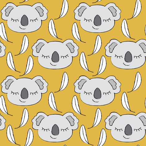 grey koalas on gold fabric by lilcubby on Spoonflower - custom fabric