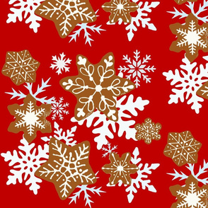 Gingerbread Snowflakes background red