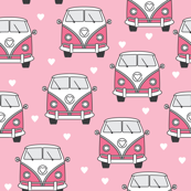 hot pink mini vans and hearts on pink