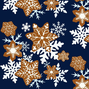 Gingerbread Snowflakes background midnight